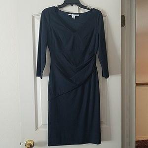 NWT Diane Von Furstenberg Navy 3/4 Sleeve Dress